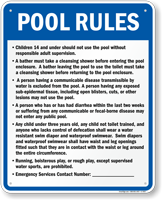 Pool Rules Sign for Utah