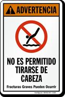 Advertencia No Es Permitido Tirarse De Cabeza Spanish Sign