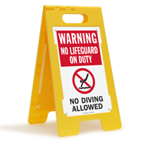 Warning No Lifeguard On Duty No Diving Floor Sign