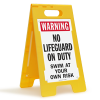 Warning No Lifeguard On Duty Swim At Own Risk Floor Sign