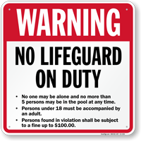Kentucky No Lifeguard On Duty Pool Sign