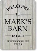 Welcome To Barn Personalized Sign