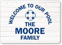 Welcome To Our Pool Family Name Personalized Sign