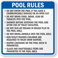 Pool Rules Sign for Wisconsin