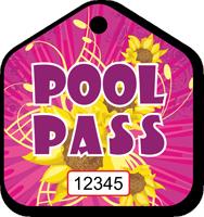 Pool Pass In Pentagon Shape, Flowers Print