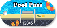 Pool Pass In Oblong Circle Shape, Summer Vacation