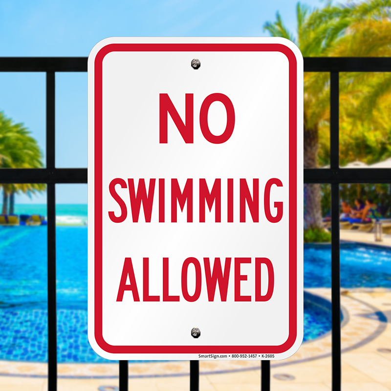 No Swimming Pool : No swimming permitted pool safety sign sku k