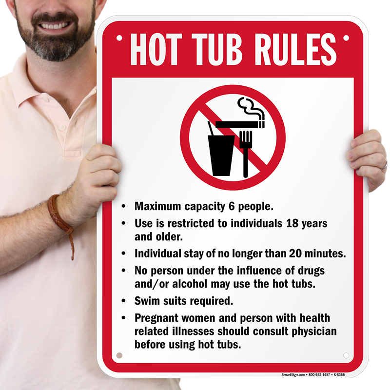Hot Tub Rules Sign With No Smoking Eating Amp Drinking Sign