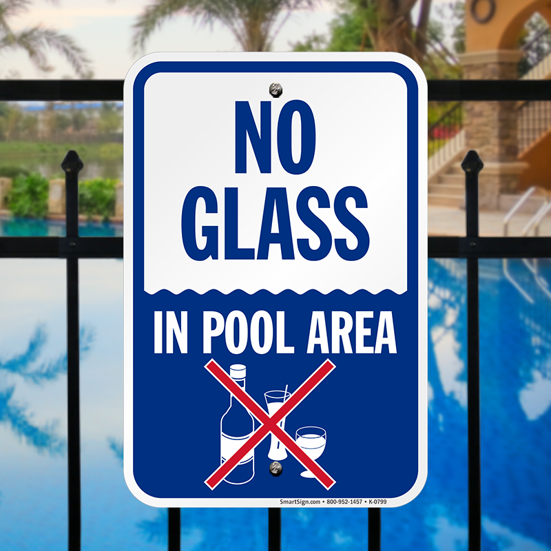 No Glass In Pool Area Sign Quick Delivery Sku K 0799