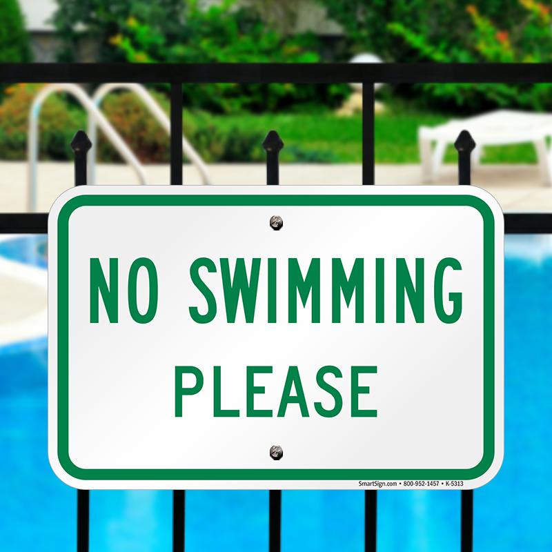 No Swimming Pool : No swimming please pool sign sku k