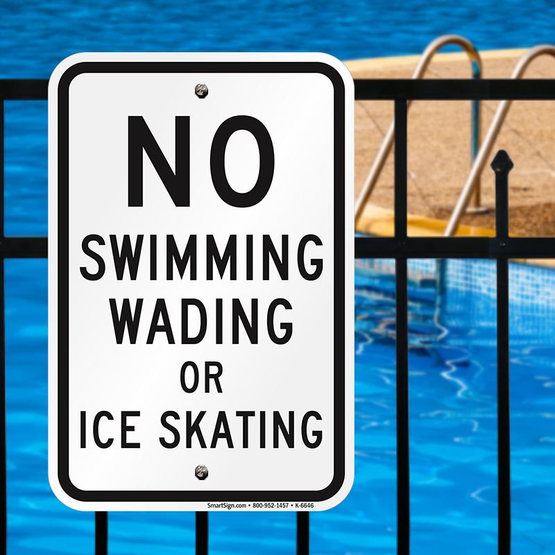 No Swimming Pool : No swimming wading or ice skating sign sku k