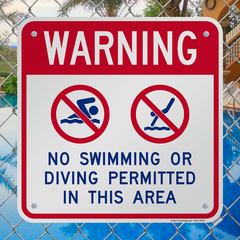 Warning no swimming or diving permitted sign sku k 7729 - Swimming swimming in my swimming pool lyrics ...