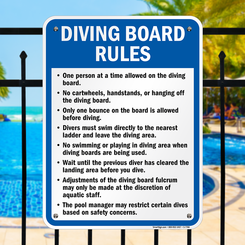 Diving board rules sign sku s 7766 - Swimming pool diving board regulations ...