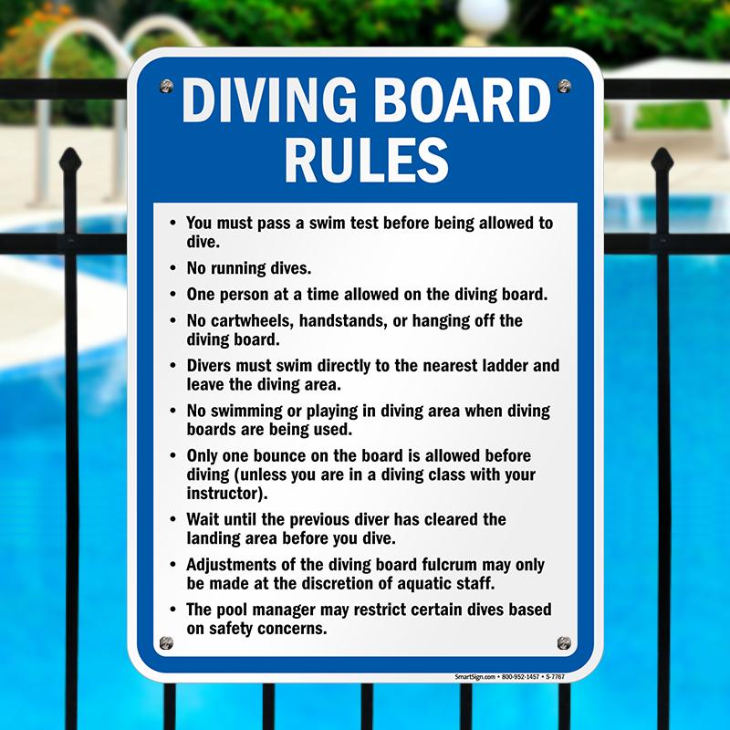 Washington diving board rules sign sku s 7767 - Swimming pool diving board regulations ...