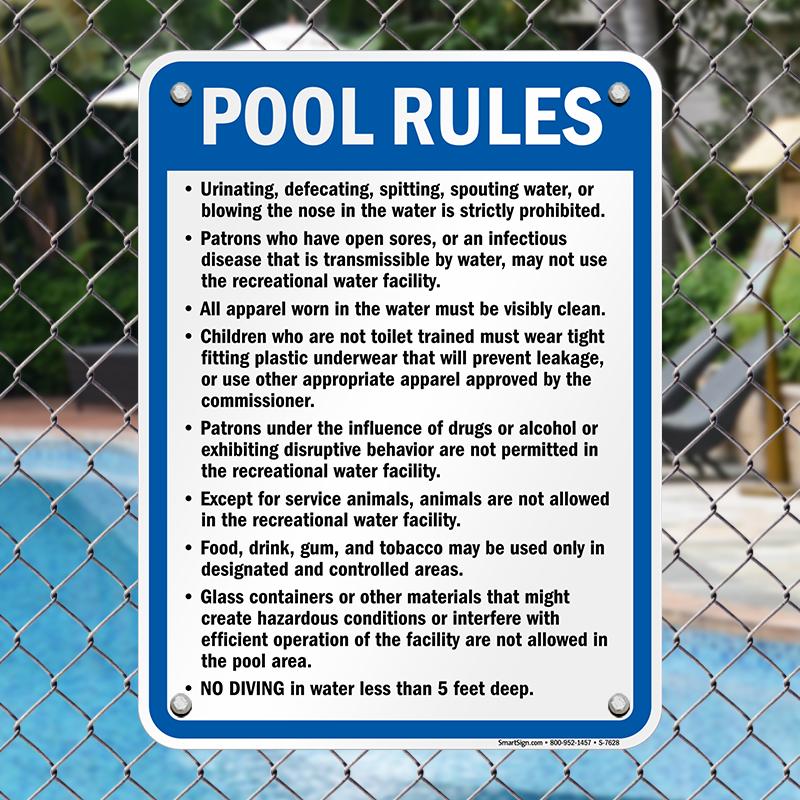 West Virginia Pool Rules Sign Sku S 7628