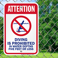 Attention Diving Is Prohibited Pool Signs