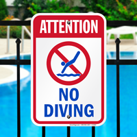 Attention No Diving Signs