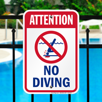 Attention No Diving Pool Safety Signs