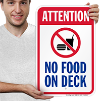 Attention No Food On Deck Pool Signs
