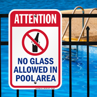 Attention No Glass Allowed Pool Signs