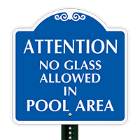 No Glass Allowed In Pool Area SignatureSign