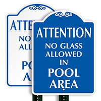 No Glass Allowed In Pool Area Attention SignatureSign