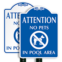 No Pets In Pool Area Attention SignatureSign