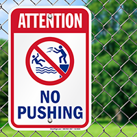 Attention No Pushing Pool Safety Signs