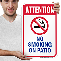 Attention No Smoking On Patio Pool Signs