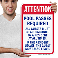 Attention Pool Pass Required Signs