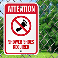 Attention Shower Shoes Required Signs
