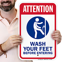 Attention Wash Your Feet Pool Signs