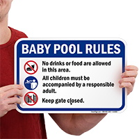 Baby Pool Rules Signs