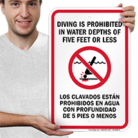 Bilingual Diving Is Prohibited In Water Depths Sign