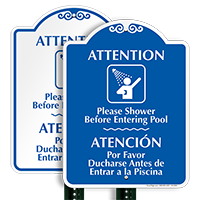 Bilingual Shower Before Entering Pool Signature Sign