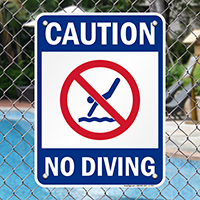 Caution No Diving Pool Signs