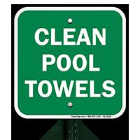 Clean Pool Towels Signs