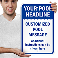 Custom Pool Message And Headline Sign