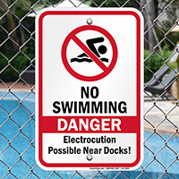 Danger No Swimming Electrocution Possible Signs