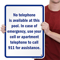 Emergency Pool Phone Number Signs