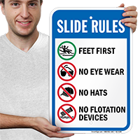 Feet First Slide Rules Signs