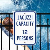 Jacuzzi Maximum Capacity Persons Signs