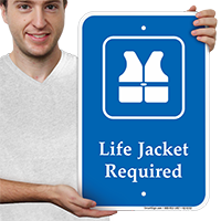 Life Jacket Required, Safety Vests Symbol Signs