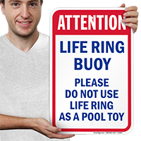 Don't Use Life Ring As Pool Toy Signs
