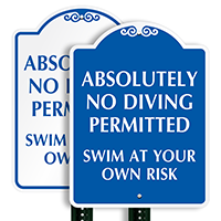 Absolutely No Diving Permitted SignatureSign