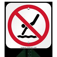 No Diving Symbol Signs