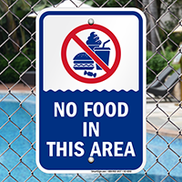 No Food In This Area Pool Safety Signs