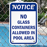 No Glass Containers Allowed Pool Area Signs