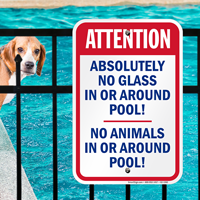 No Glass or Animals Around Pool Signs