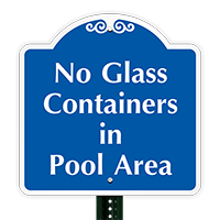 No Glass Containers In Pool Area SignatureSign